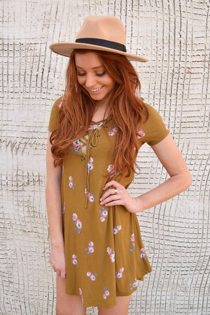 Womens Boutique colorado rose lace up dress mustard