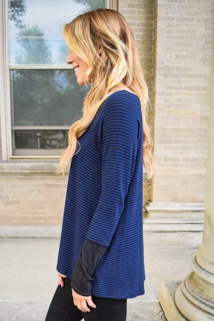 Cute sweet and sincere navy stripe top