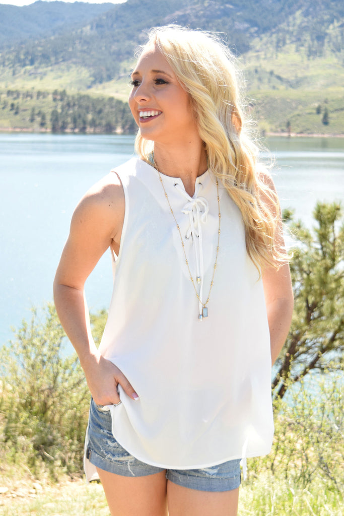 Affordable heirloom lace up tank