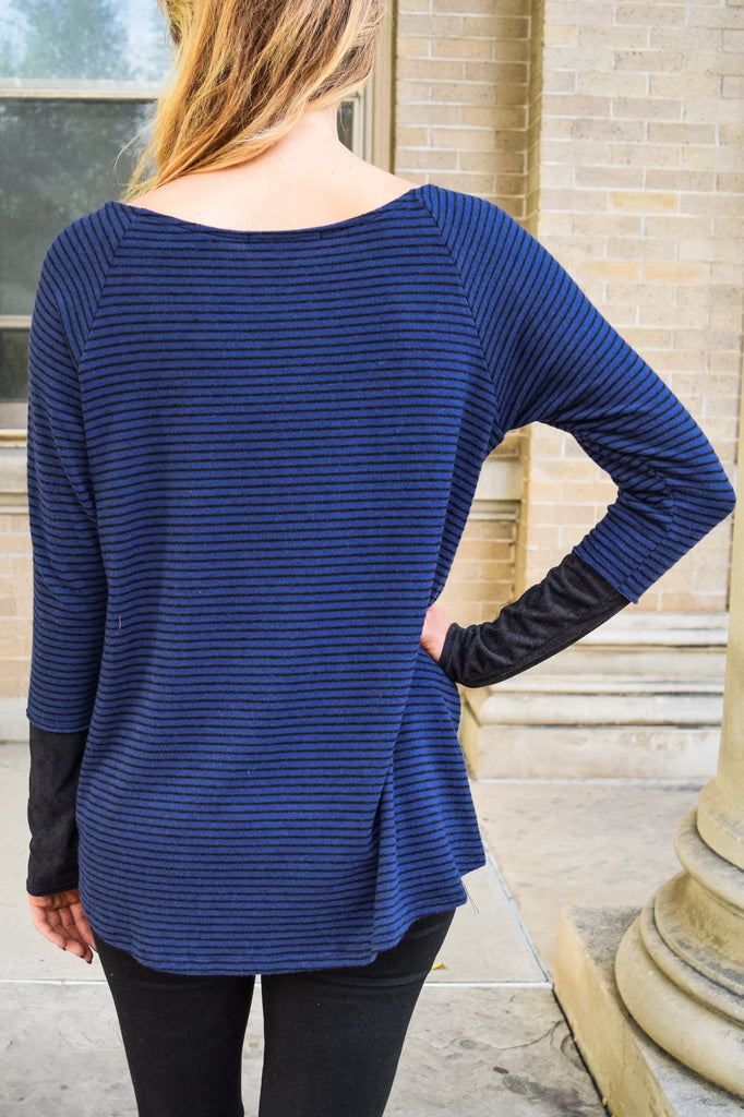 Cute Online sweet and sincere navy stripe top