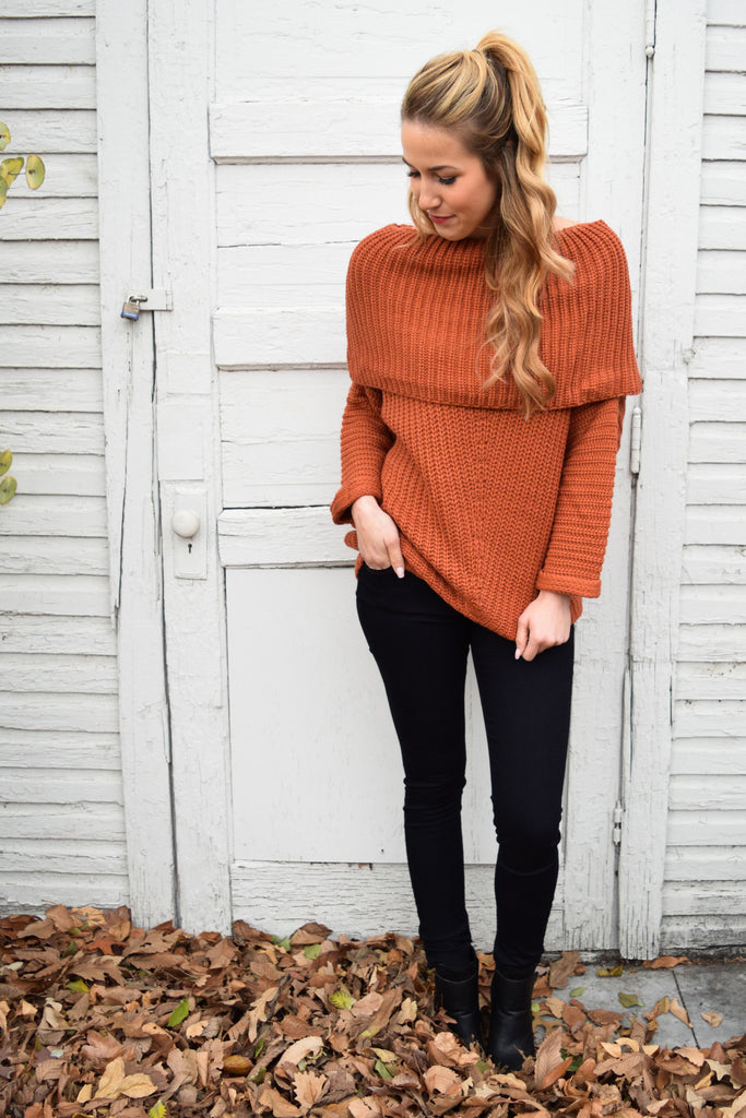 Chic Sienna Off the Shoulder Sweater
