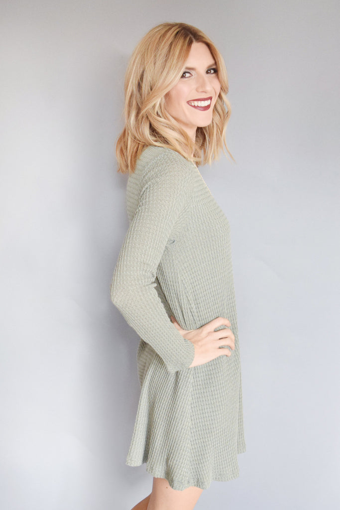 Cute snow day thermal tunic dusty sage