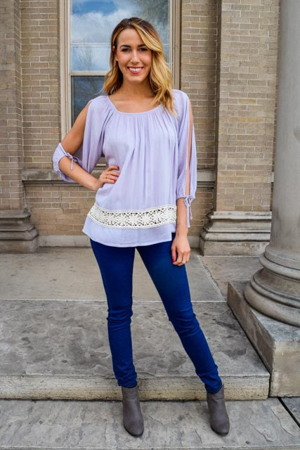 Affordable Free To Be Me Lavender Top