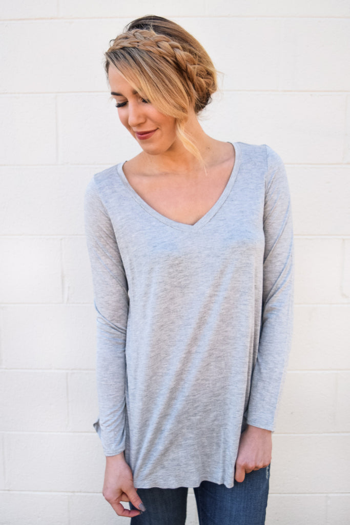 Womens Online fall like a feather tunic heather grey