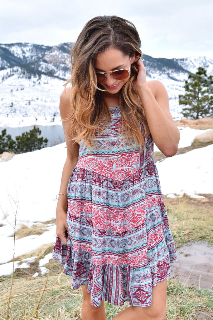 Colorado Chic moab printed tie back dress