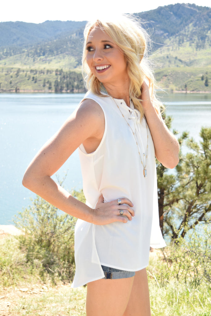 Trendy heirloom lace up tank