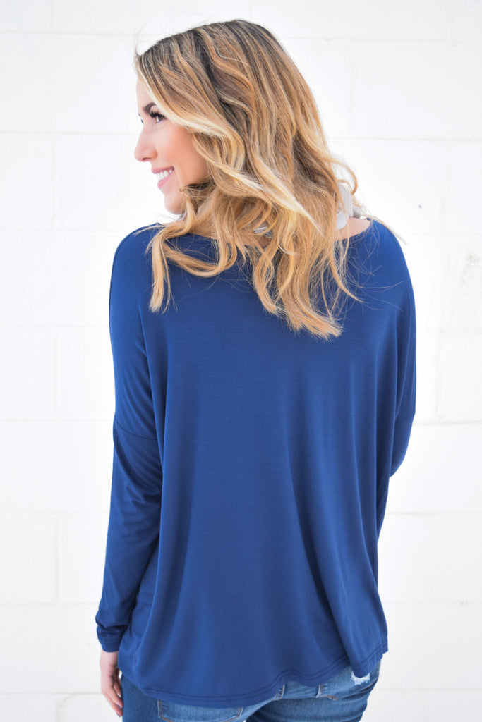 Cute Online love to lounge long sleeve top navy