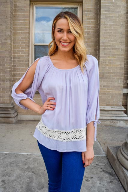 Trendy free to be me lavender top