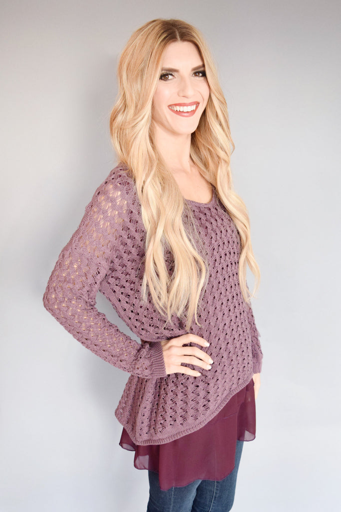 Affordable woven chiffon hem sweater plum