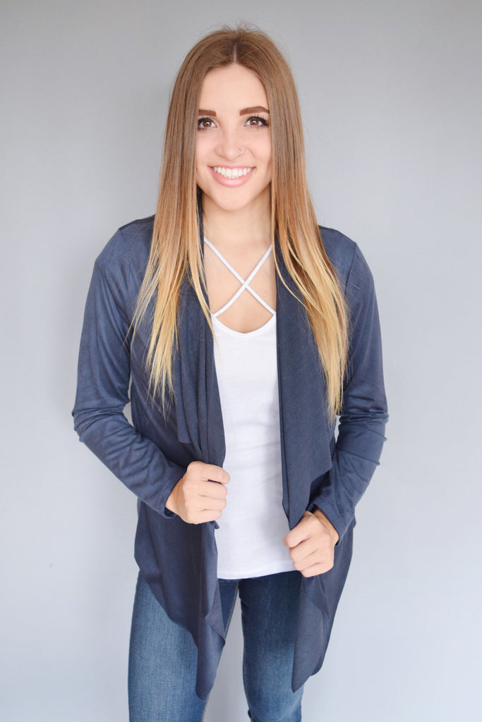 Trendy Online night sky faux suede cardigan