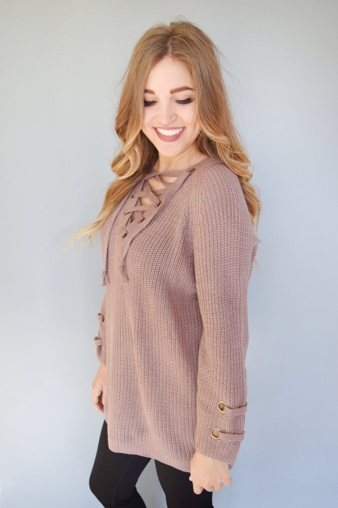 Affordable Evergreen Lace Up Sweater Dusty Plum