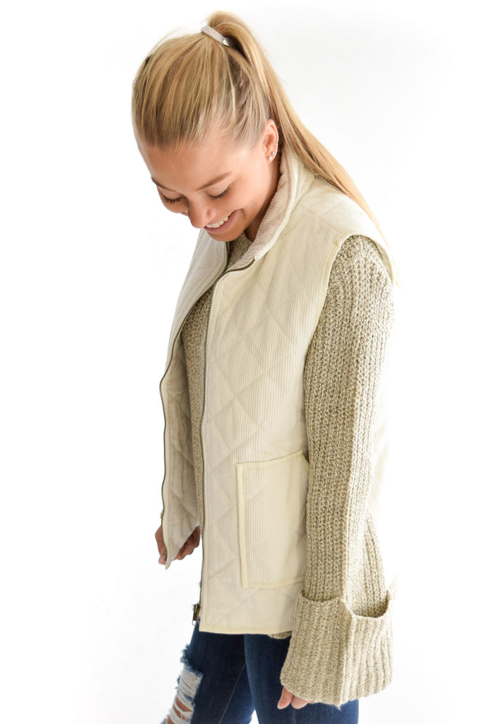 Alpine Quilted Vest In Cream