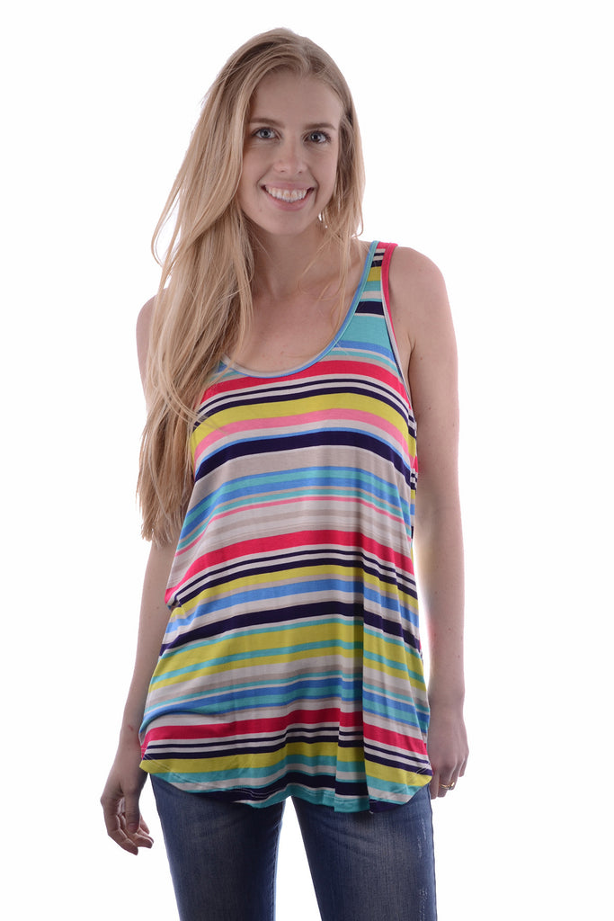 Womens Boutique POOLSIDE PARTY STRIPED TANK