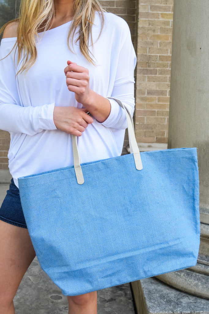 Cute Jute Beach Bag Ocean Blue