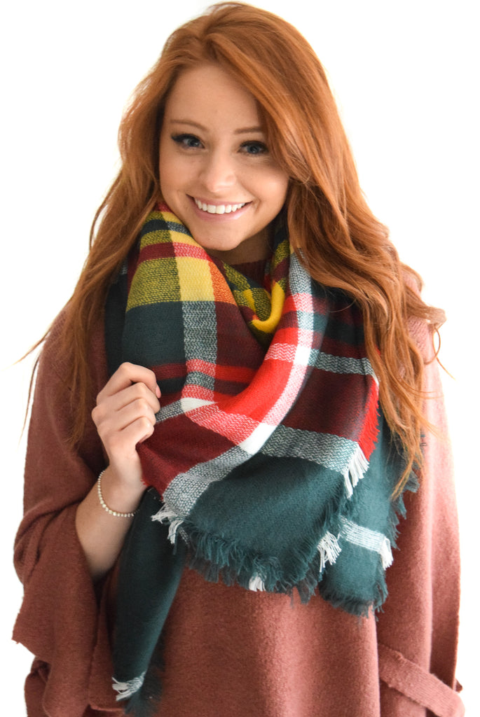 Falling Leaves Blanket Scarf Green