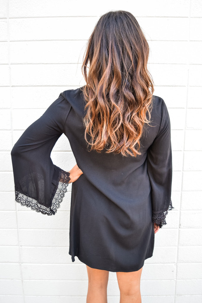 Cute Online willow lace detail black dress