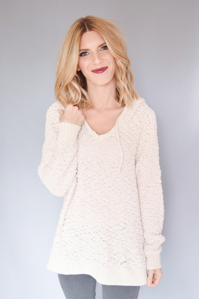Womens Boutique Snow Fall Hooded Sweater Cream