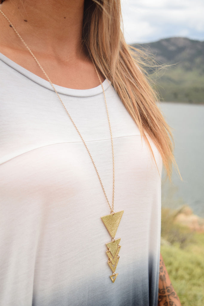 Affordable Worn Gold Triangle Pendant