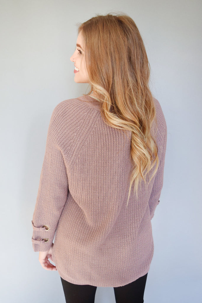 Womens Online evergreen lace up sweater mauve