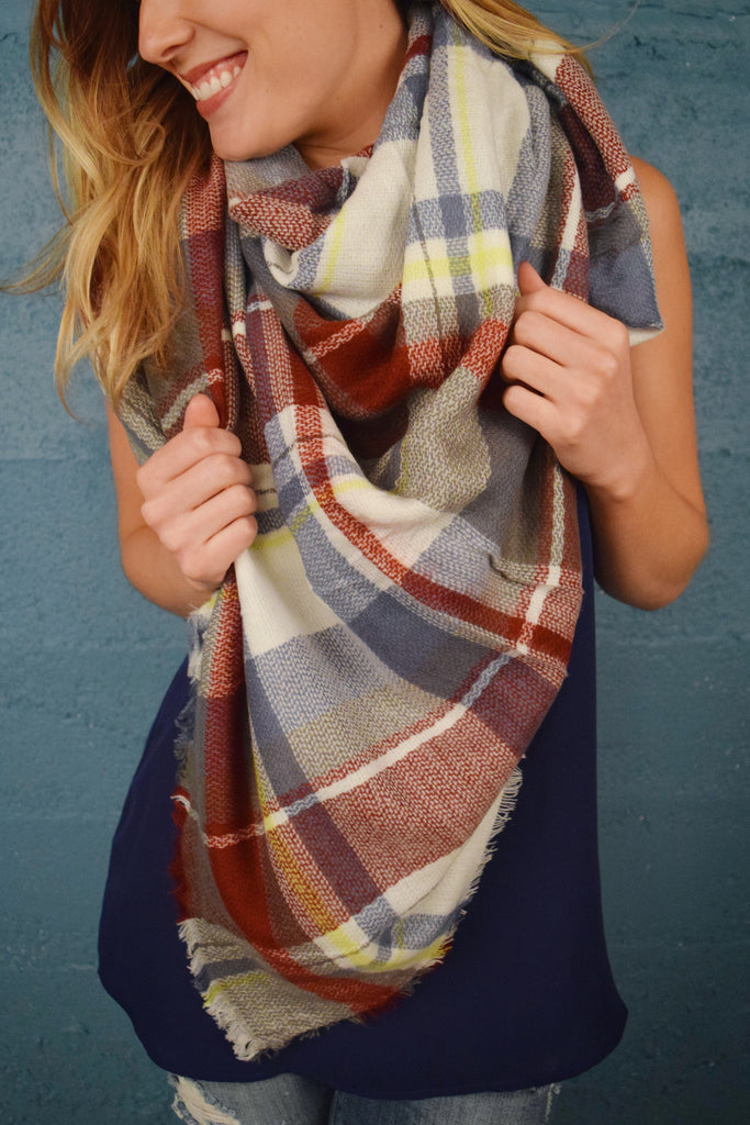 Cute falling leaves blanket scarf rust