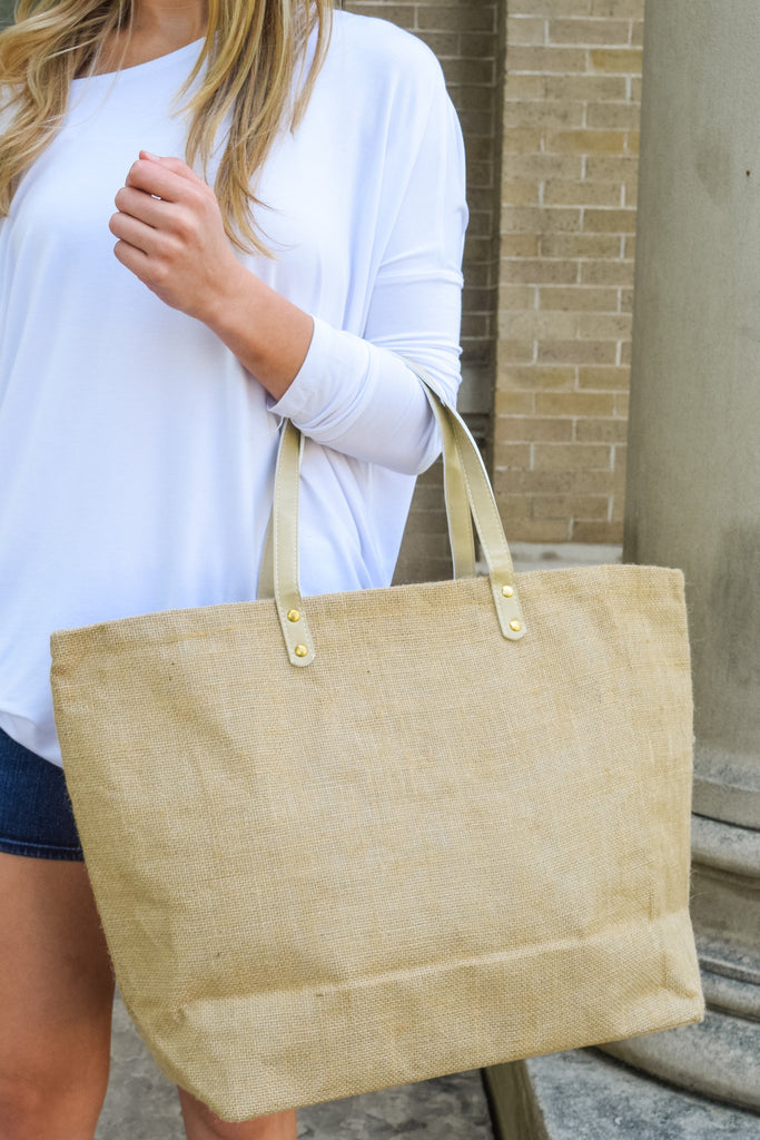 Cute Jute Beach Bag Tan