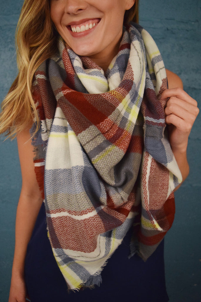 Womens Online Falling Leaves Blanket Scarf Rust