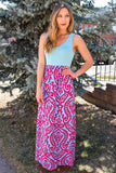 Cute Fuchsia Print Maxi Dress