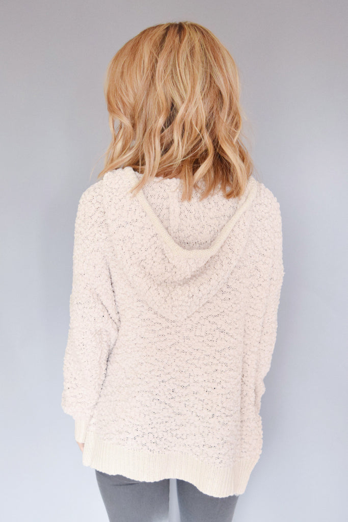 Affordable snow fall hooded sweater cream