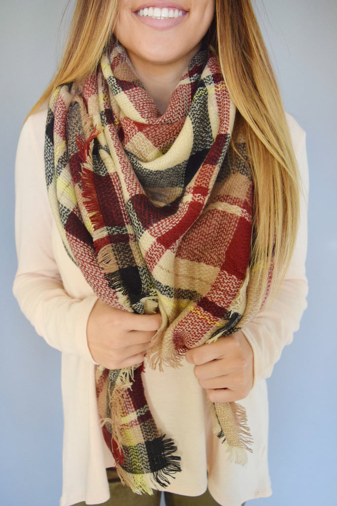 Affordable Rocky Mountain Blanket Scarf Beige