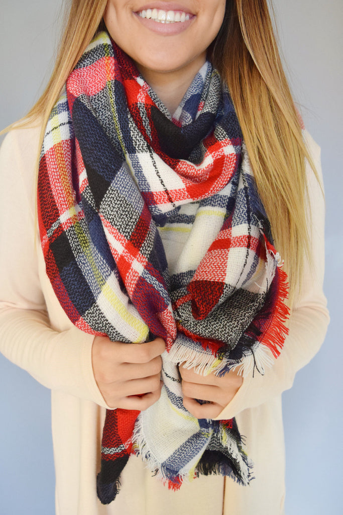 Colorado Chic Falling Leaves Blanket Scarf Red