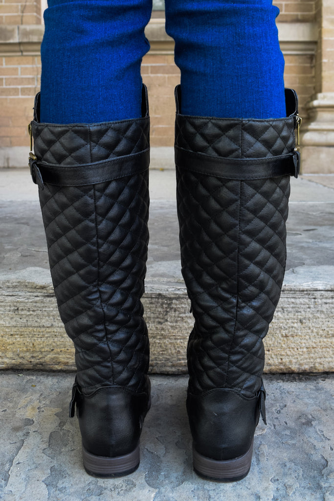 Affordable jet set quilted boots black