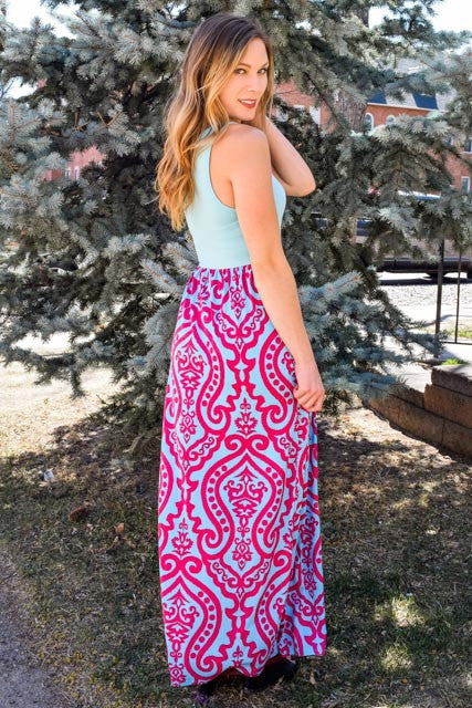 Trendy Online fuschia print maxi dress