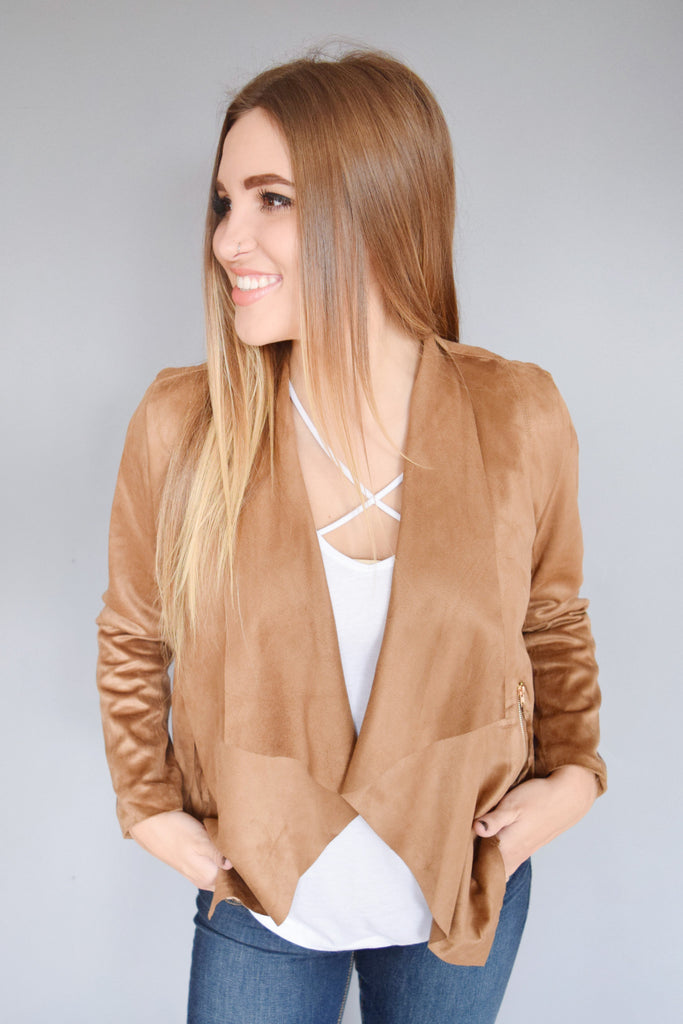 Womens Clothing long sleeve zipper jacket camel