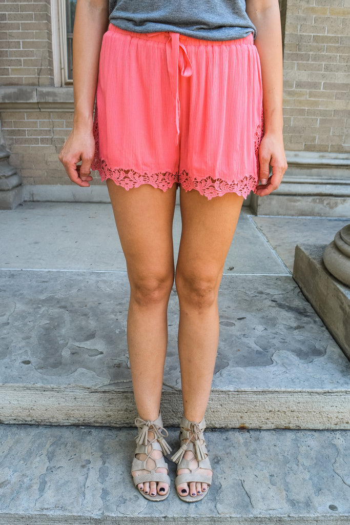 Cute Lady in Lace Shorts Pink