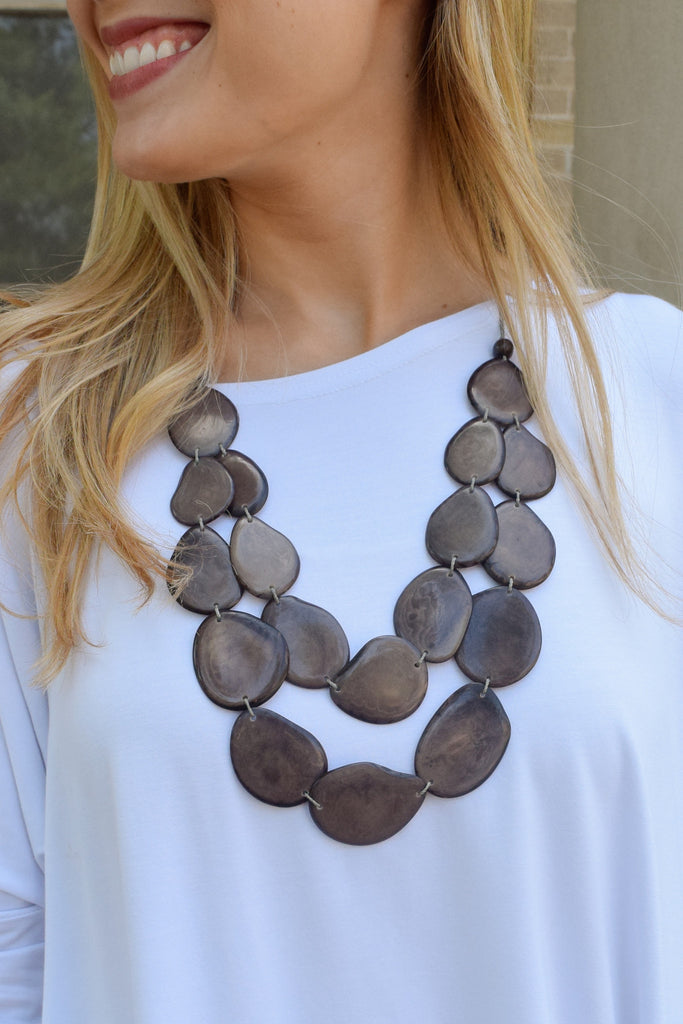 Cute Tagua Nut Flat Necklace Brown/Grey