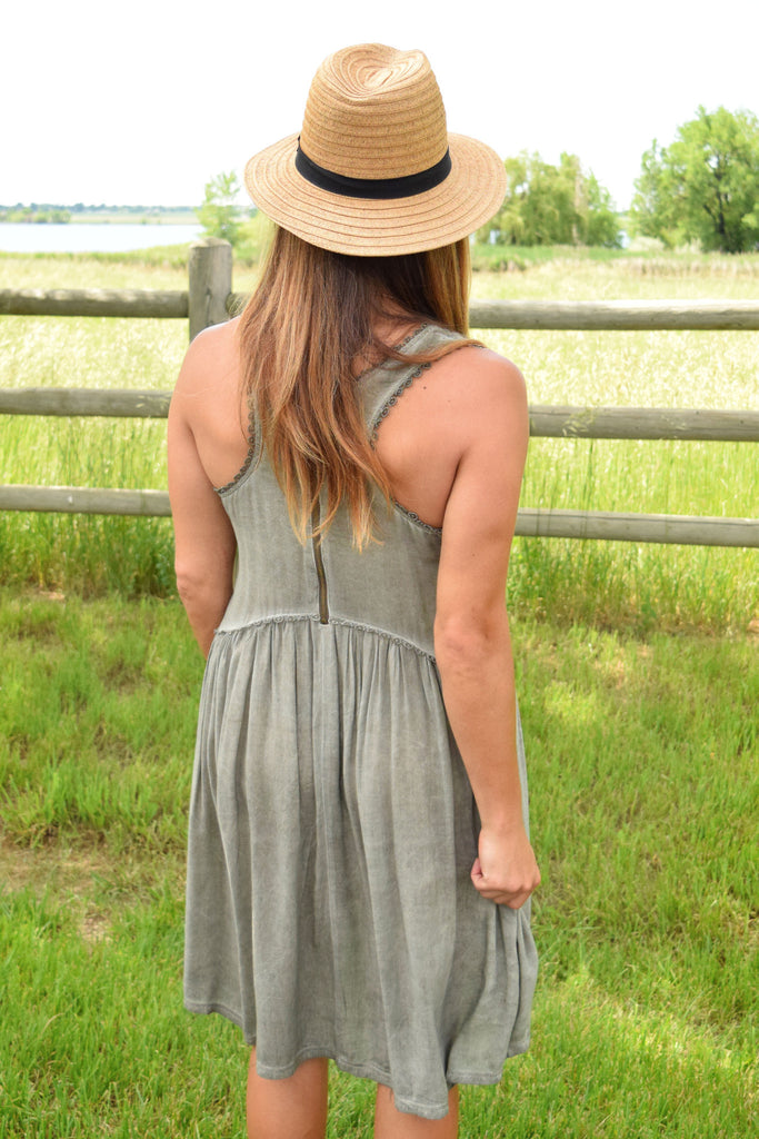 Womens Boutique mountain stream tiered dress sage