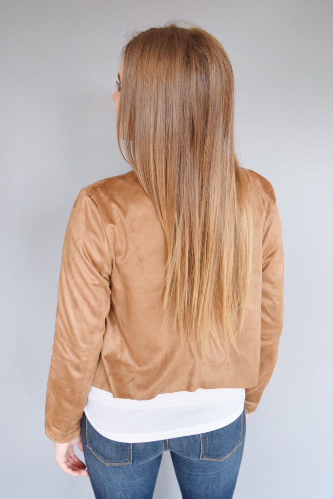 Affordable long sleeve zipper jacket camel