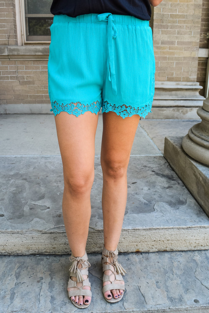 Affordable Lady in Lace Shorts Aqua