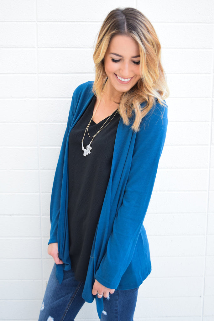 Trendy Online Walk in the Park Cardigan Teal