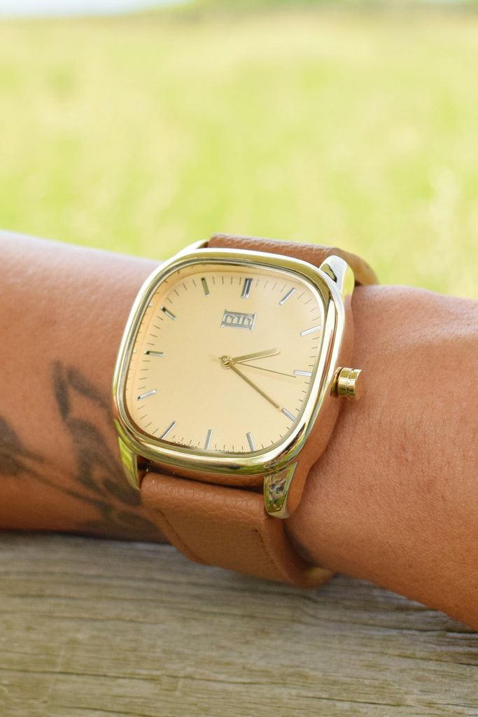 Affordable Online square cognac watch