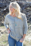 Colorado Chic Piece by Piece Stitched Top Olive