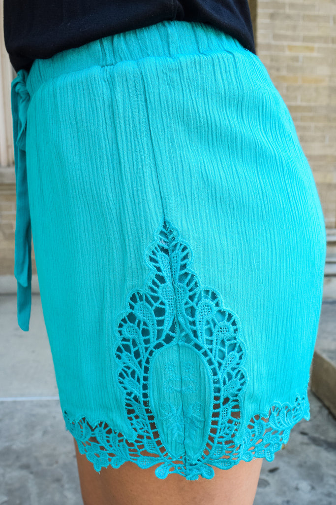 Womens Online lady in lace shorts aqua