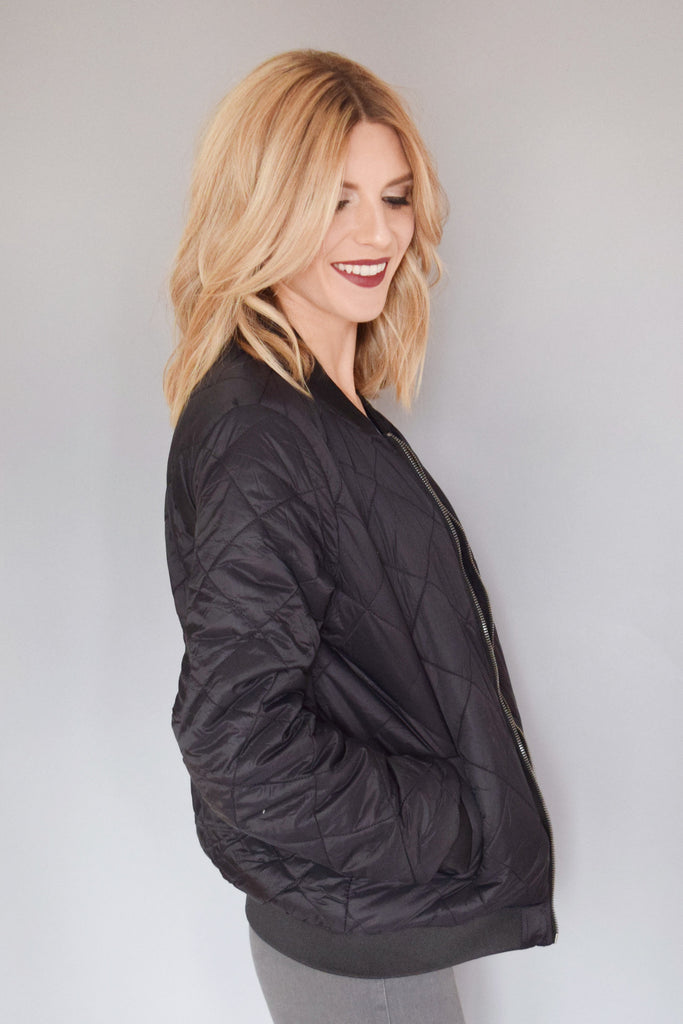 Womens Boutique quilted bomber jacket black