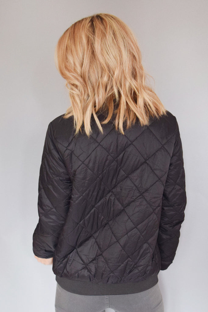 Womens Clothing quilted bomber jacket black