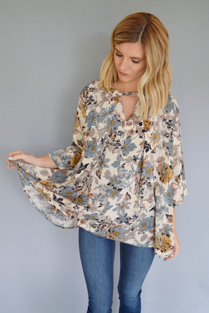 Cute Online Fall Floral Cutout Top Sage