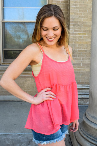 Trendy Online ready for a warm day coral top
