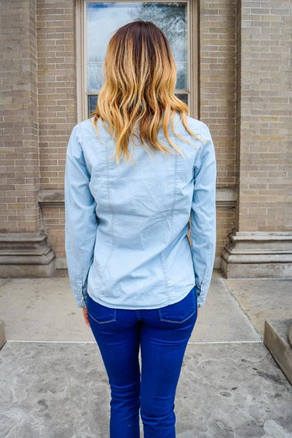 Womens Clothing light blue denim shirt