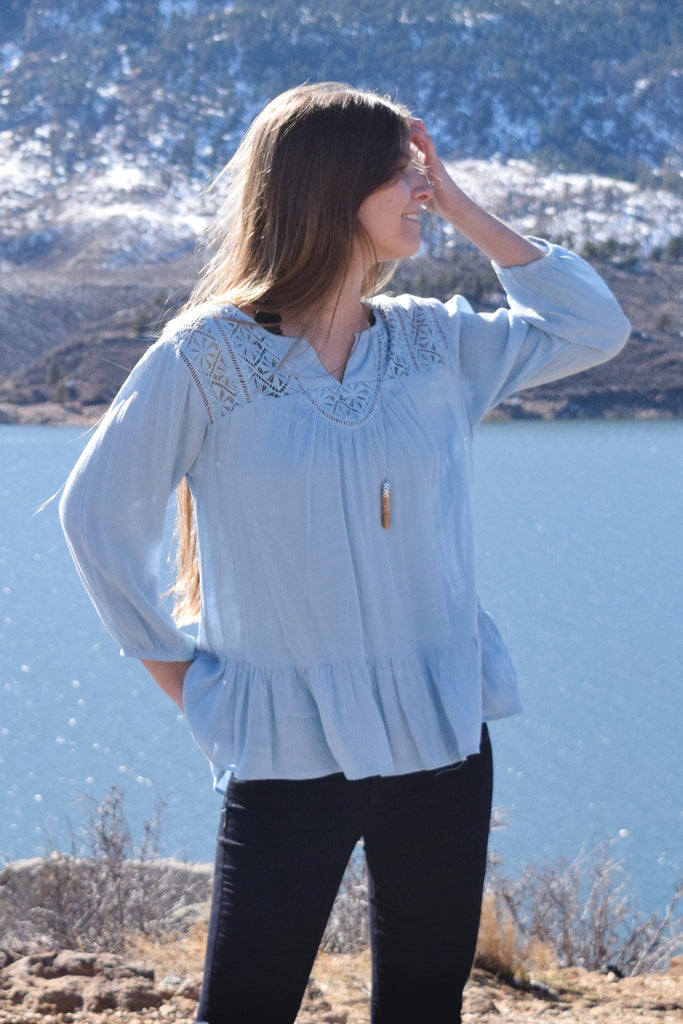 Womens Online Meridian Embroidered Top Sky Blue