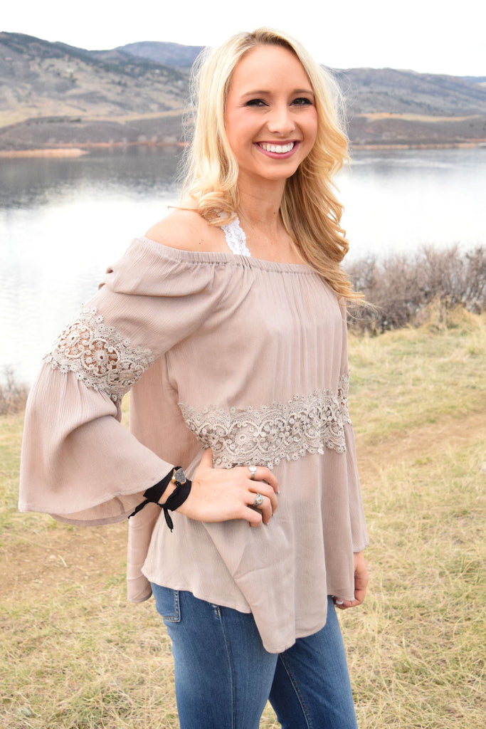 Affordable Online Natural Beauty Crochet Trim Top
