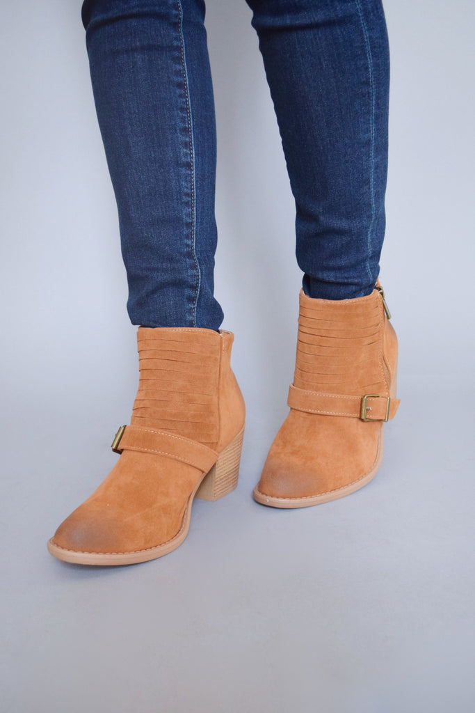 Cute avenue buckle booties camel